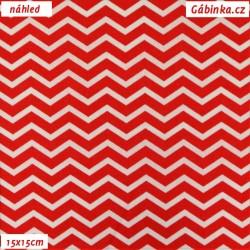 Plátno - Cik-cak tenký červený a bílý, 15x15 cm