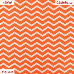 Plátno - Cik-cak tenký oranžový a bílý, šíře 150 cm, 10 cm