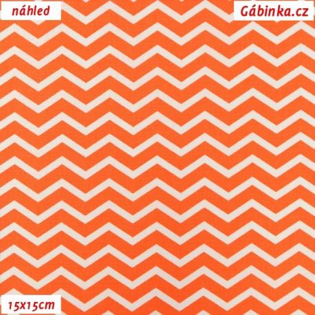 Plátno - Cik-cak tenký oranžový a bílý, 15x15 cm