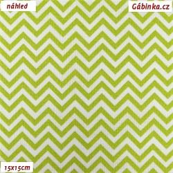 Plátno - Cik-cak tenký světle zelený, šíře 150 cm, 10 cm