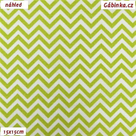 Plátno - Cik-cak tenký světle zelený, 15x15 cm
