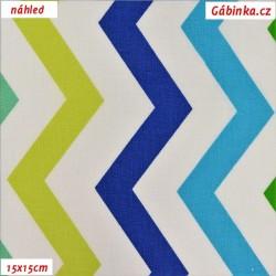 Plátno - Cik-cak v odstínech zelené a modré, šíře 160 cm, 10 cm