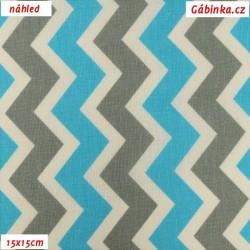 Plátno - Cik-cak světle šedý a modrý, šíře 160 cm, 10 cm