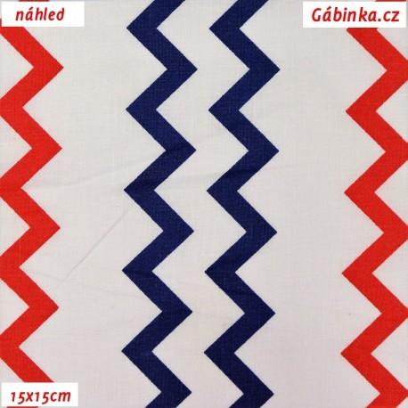 Plátno - Cik-cak námořní - modrý, červený na bílé, 15x15 cm