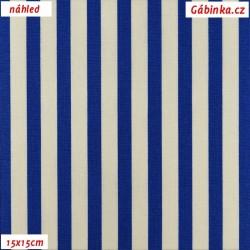 Plátno - Proužky 1 cm modré a bílé, šíře 160 cm, 10 cm