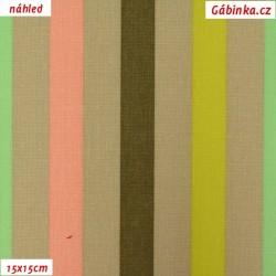Plátno - Proužky barevné na tmavě béžové, 15x15 cm