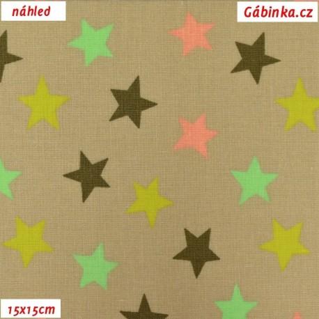Plátno - Hvězdičky barevné na tmavě béžové, 15x15 cm