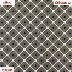 Plátno - šedá kolekce - Puntíky ve čtvercích, šíře 150 cm, 10 cm
