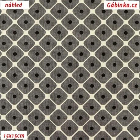 Plátno - šedá kolekce - Puntíky ve čtvercích, 15x15 cm