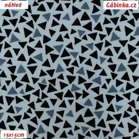 Úplet s EL - Trojúhelníčky modré a černé na světle modré, 15x15 cm