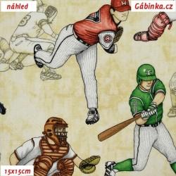 Plátno USA - QT Grand Slam - Baseballisti na světlé, šíře 110 cm, 10 cm