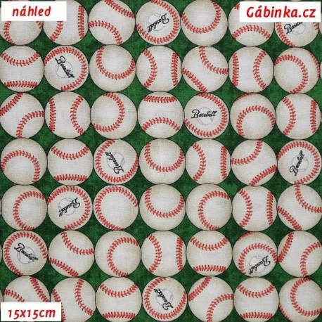 Plátno USA - QT Grand Slam - Baseballové míčky na zelené, 15x15 cm