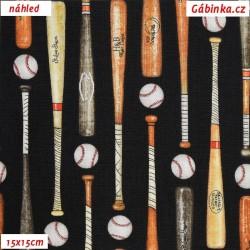 Plátno USA - QT Grand Slam - Baseballové pálky na černé, 15x15 cm