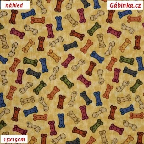 Plátno USA - QT It's a Ruff Life, Barevné kostičky na batice, 15x15 cm
