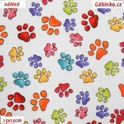 Plátno USA - QT Happy Cats, Barevné ťapky na bílé, 15x15 cm