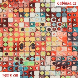 Zbytek - Viskóza s EL - Kostičky 10mm červenohnědé , šíře 150 cm, 70 cm