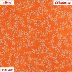 Plátno - Borůvčí na oranžové batice, šíře 140 cm, 10 cm