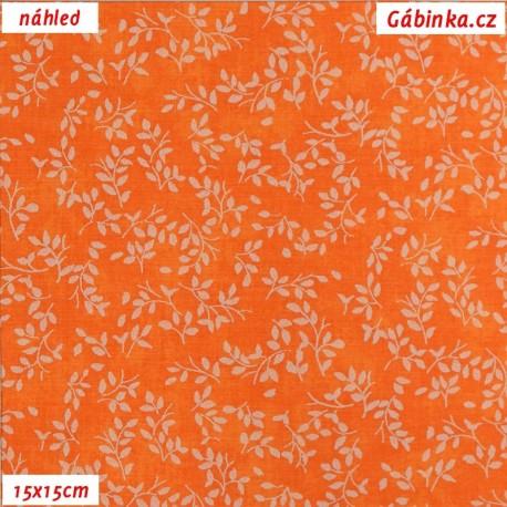 Plátno - Borůvčí na oranžové batice, 15x15 cm