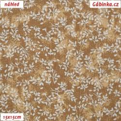 Plátno - Borůvčí na hnědé batice, 15x15 cm
