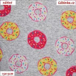 Bavlněný oboulícní úplet - Donuty růžové a žluté na šedém melíru, šíře 145 cm, 10 cm, ATEST 1