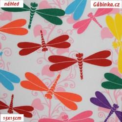 Plátno - Barevné vážky na bílé, 15x15 cm