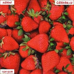 Úplet s EL Digitální tisk - Čerstvé jahody, ATEST 1, šíře 160 cm, 10 cm