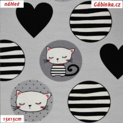Látka úplet s EL - Kočičky v kolečkách na šedé, 15x15 cm