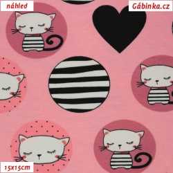 Látka úplet s EL - Kočičky v kolečkách na růžové, 15x15 cm