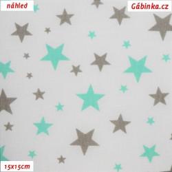 Plátno - Hvězdičky různě velké mentolové a šedé na bílé, šíře 160 cm, 10 cm