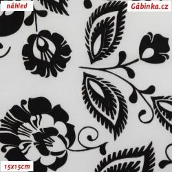 Plátno - Černé květiny na bílé, šíře 160 cm, 10 cm