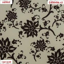 Plátno - Hnědé květiny na smetanové, 15x15 cm