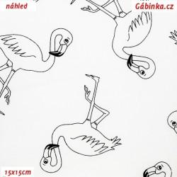 Plátno - Plameňáci černí na bílé, šíře 160 cm, 10 cm