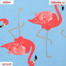 Plátno - Plameňáci růžoví na modré, šíře 160 cm, 10 cm