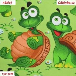 Plátno - Želvičky na zelené, 15x15 cm