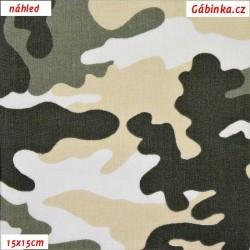 Plátno, Maskáč zelený, béžový a bílý, 15x15 cm