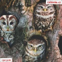 Látka úplet s EL Digitální tisk - Sovy se zvířátky ve stromech, ATEST 2, šíře 160 cm, 10 cm