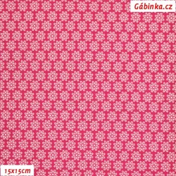 Látka úplet s EL - Malé kytičky na tmavě růžové, šíře 150 cm, 10 cm