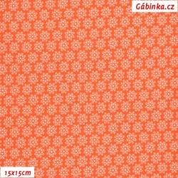 Látka úplet s EL - Malé kytičky na oranžové, šíře 150 cm, 10 cm