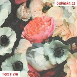 Zbytek - Koženka, Růže na černé, DSOFT 102, šíře 135 cm, 20 cm