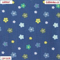 E - Riflovina - Barevné kytičky na modré, šíře 145 cm, 10 cm