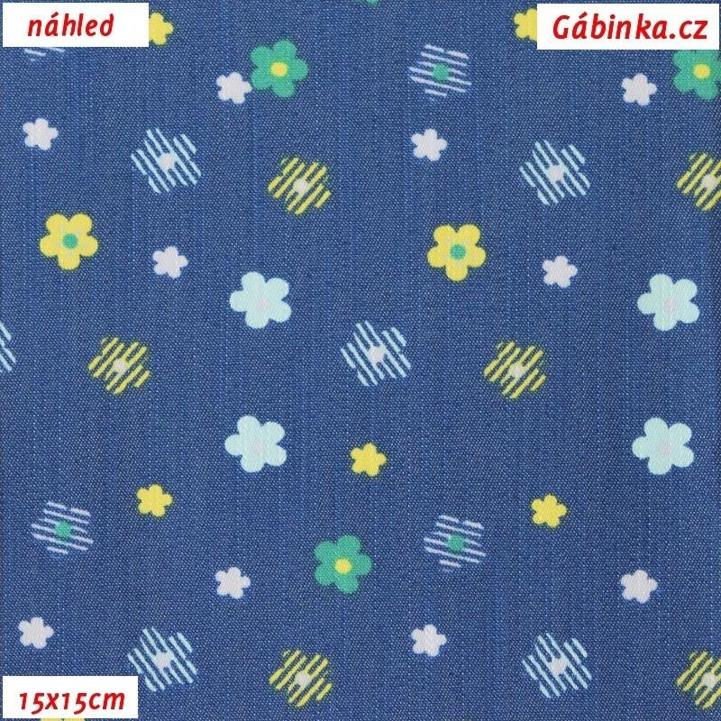 6c24e0155ba4 Riflovina - Barevné kytičky na modré