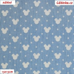 Košilová riflovina - Bílé hlavy Mickey na bledě modré, šíře 145 cm, 10 cm