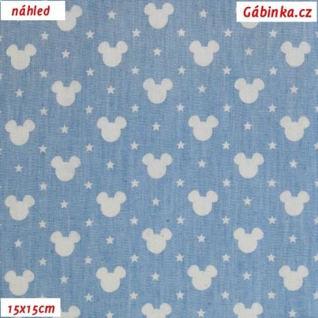 d6e1b84198d5 Košilová riflovina - Bílé hlavy Mickey na bledě modré