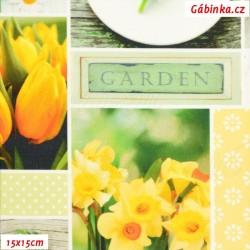Plátno SOFT vyšší gramáž - Jarní květiny, digitální tisk, šíře 140 cm, 10 cm