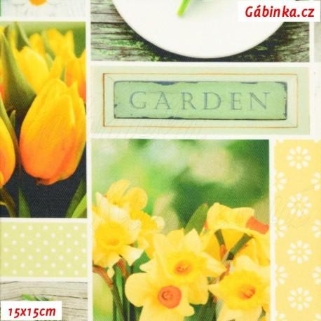Plátno SOFT - vyšší gramáž, Jarní květiny - digitální tisk, šíře 140 cm, 10 cm