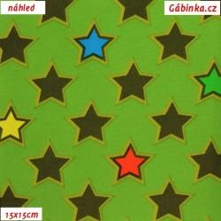 Softshell - Barevné hvězdy na zelené, 15x15 cm