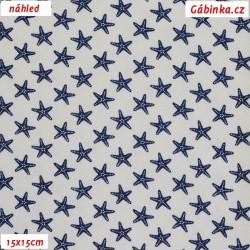 Plátno - vyšší gramáž - Modré hvězdice na bílé, šíře 140 cm, 10 cm