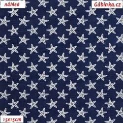 Plátno - vyšší gramáž - Bílé hvězdice na tmavě modré, 15x15 cm