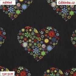 Plátno - Barevná srdce na černé, šíře 150 cm, 10 cm