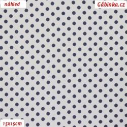 Viskóza tkanina - Tmavě modré puntíky na bílé, 15x15 cm